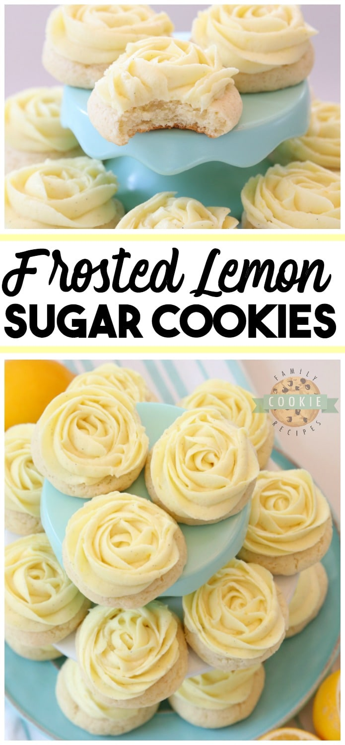 Frosted Lemon Sugar Cookies made by adding fresh lemon juice and zest to a simple sugar cookie dough. No rolling out or chilling necessary! Just bake and top with a bright lemon buttercream frosting. Easy Lemon Cookies piped with a super simple rosette so they taste incredible and they're pretty too! My all-time favorite Sugar Cookie recipe!