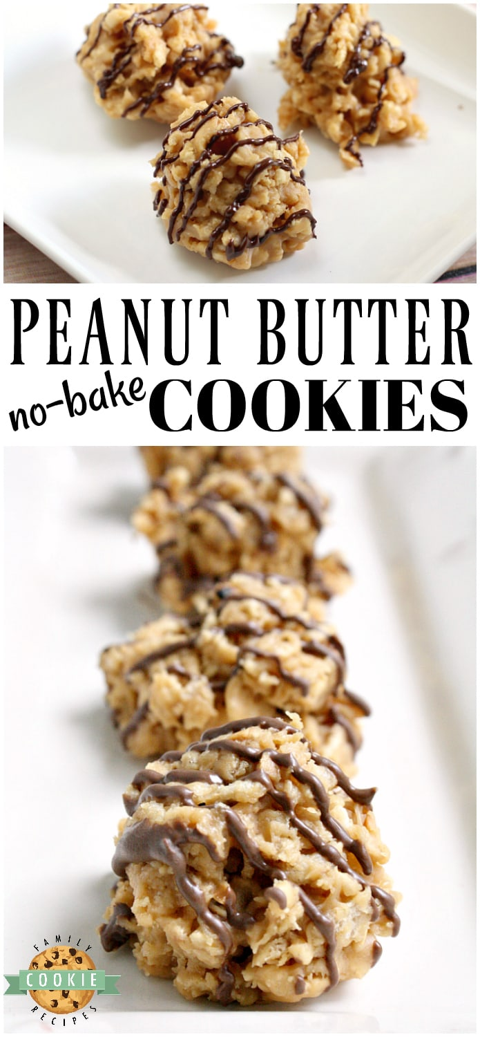 Peanut Butter No Bake Cookies are crunchy, sweet and full of flavor and they only take a few minutes start to finish to make!