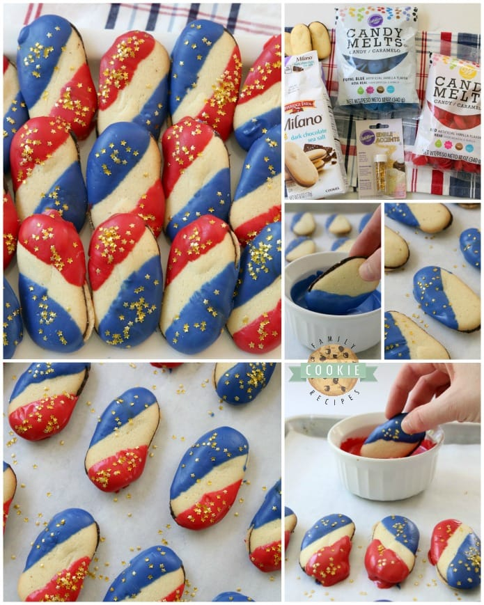 How to make simple & easy 4th of July cookies from Milanos and melting chocolate. Recipe from Family Cookie Recipes