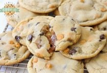Caramel Stuffed Chocolate Chip Cookies start with our BEST EVER chocolate chip cookies, then stuffed with soft, sweet caramel & baked until golden brown. Everything you love about traditional chocolate chip cookies with soft, gooey caramel inside!