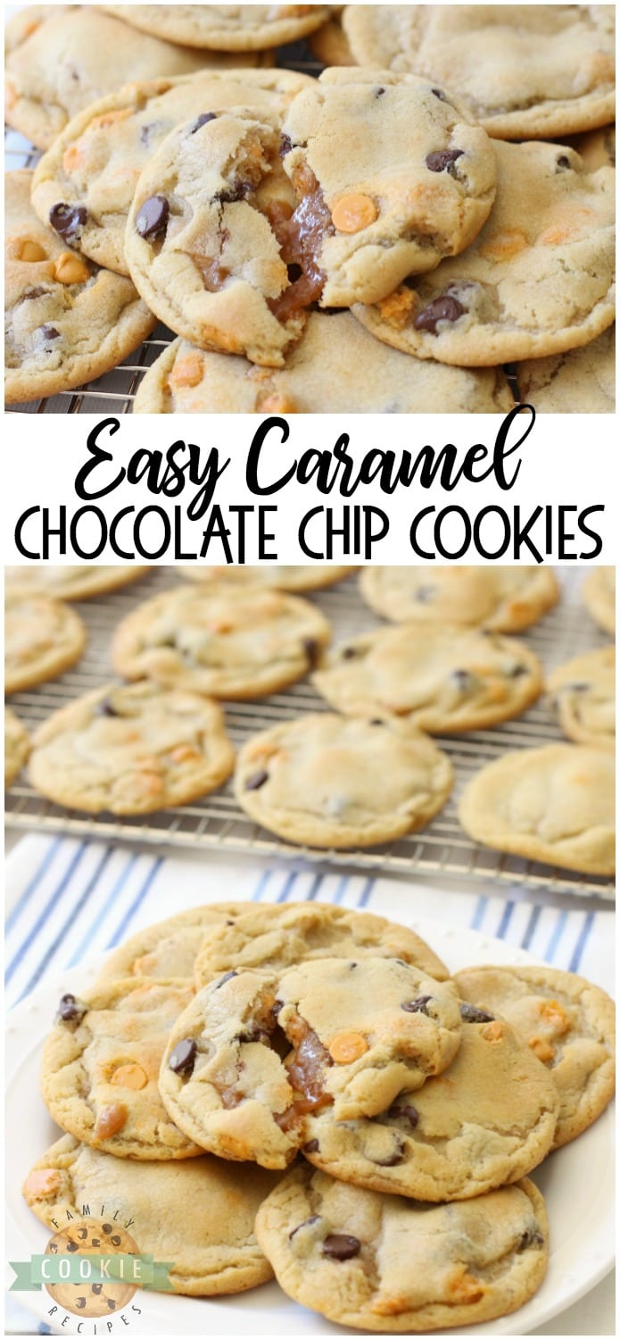 Caramel Chocolate Chip Cookies start with our BEST EVER chocolate chip cookies, then stuffed with soft, sweet caramel & baked until golden brown. Everything you love about traditional chocolate chip cookies with soft, gooey caramel inside! #caramel #cookies #chocolate #chocolatechip #baking #dessert #recipe from FAMILY COOKIE RECIPES