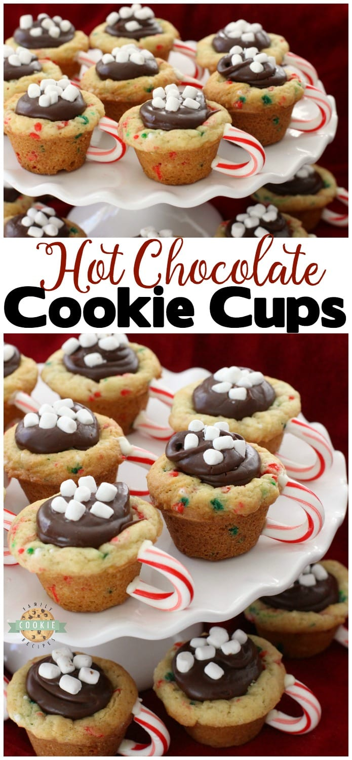 Hot Chocolate Cookie Cups are festive Christmas cookies! Sugar cookie cups filled with fudge, mini marshmallows & sprinkles. Love the candy cane handle! Hot Chocolate Cookie Cups are sugar cookies perfect for the holidays.  #Christmas #cookies #hotchocolate #fudge #sprinkles #holidays #baking #recipe from FAMILY COOKIE RECIPES