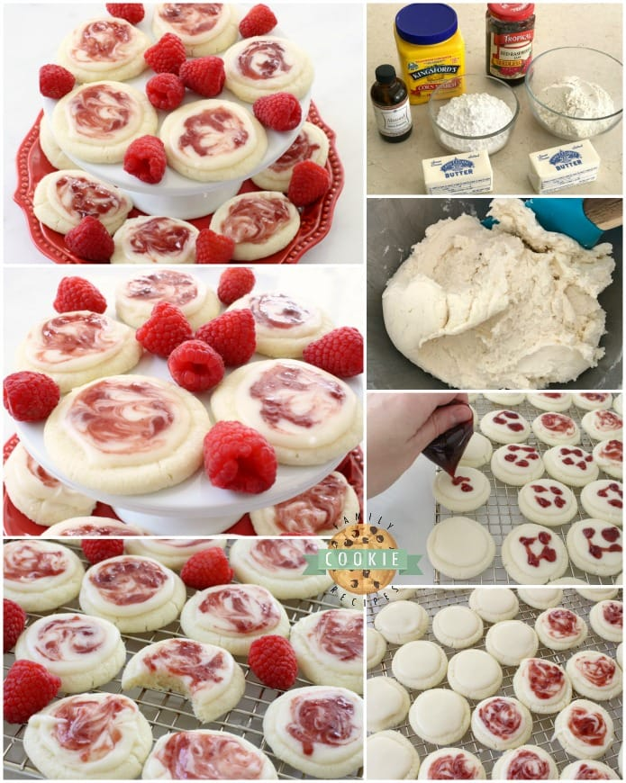 Raspberry Meltaway Cookies just melt in your mouth! Soft dough made with cornstarch and powdered sugar compliments these raspberry cookies beautifully. Perfect topped with a simple almond glaze swirled with raspberry jam.