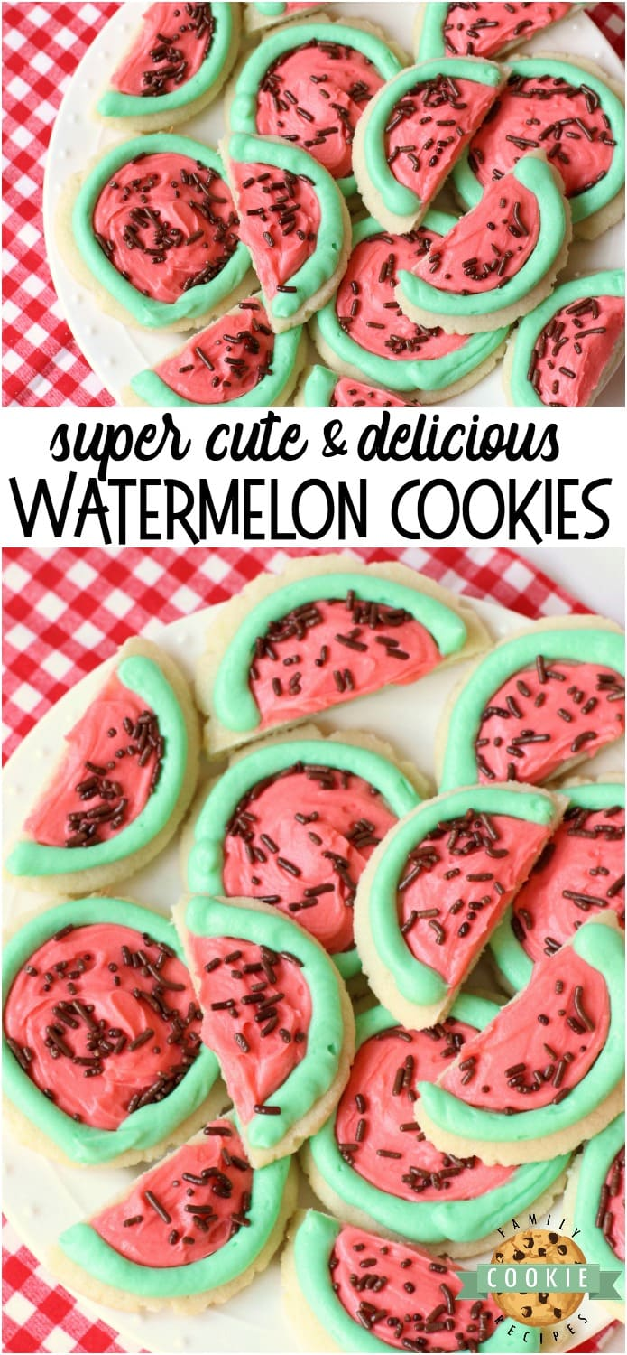 Watermelon Sugar Cookies made easy with sugar cookies, my favorite buttercream frosting and chocolate sprinkles. Perfect for summertime picnics when you can't get enough of watermelon in any form! #watermelon #cookies #sugarcookies #frosting #summer #recipe from FAMILY COOKIE RECIPES