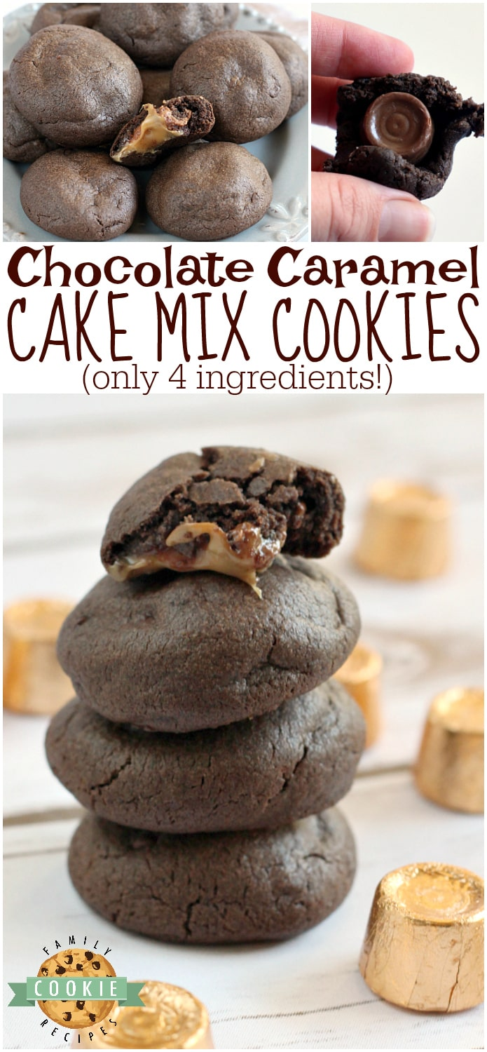 Chocolate Caramel Cake Mix Cookies are made with only 4 ingredients - one of which is the Rolo tucked in the middle! So easy to make and they are absolutely delicious with the gooey caramel centers! via @buttergirls