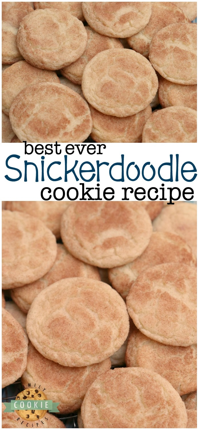 Classic Snickerdoodle recipe for the best Snickerdoodle Cookies ever! Soft & chewy with great cinnamon sugar flavor and that traditional snickerdoodle texture. #Snickerdoodle #cookie #recipe #baking #dessert from FAMILY COOKIE RECIPES