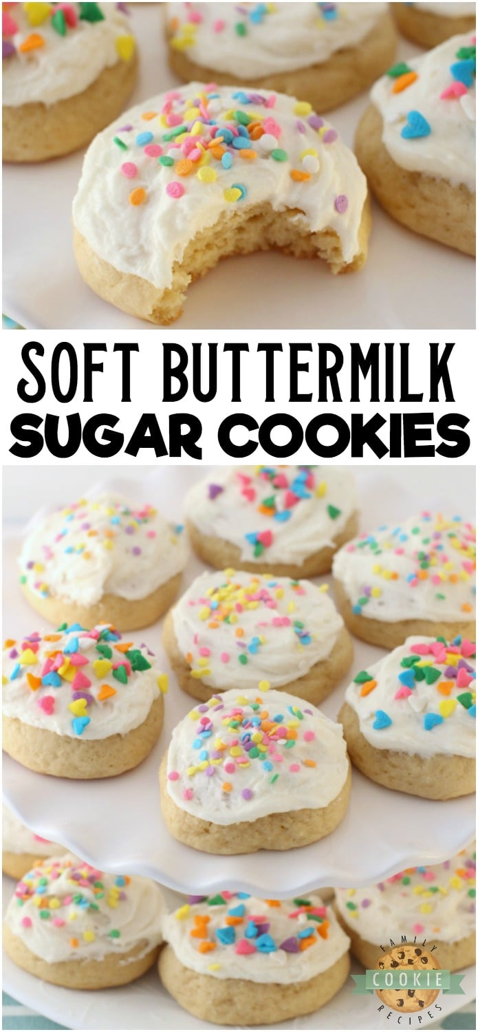 Soft Buttermilk Sugar Cookies are classic sugar cookies with the addition of buttermilk for an extra soft, pillowy texture. It's a family favorite frosted sugar cookie recipe that you've got to try! #cookies #sugarcookies #cookie #recipe #buttermilk #baking #dessert from FAMILY COOKIE RECIPES