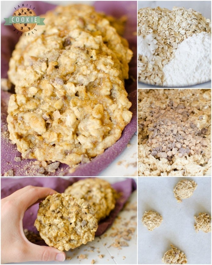 Toffee Oatmeal Cookies are a variation on a classic oatmeal cookie recipe. Maple extract and buttery toffee add delicious flavor to an already amazing cookie!