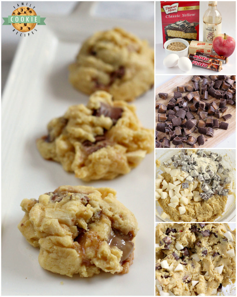Step by step photos and instructions on how to make Caramel Apple Cake Mix cookies\ with Rolos and chopped apples.