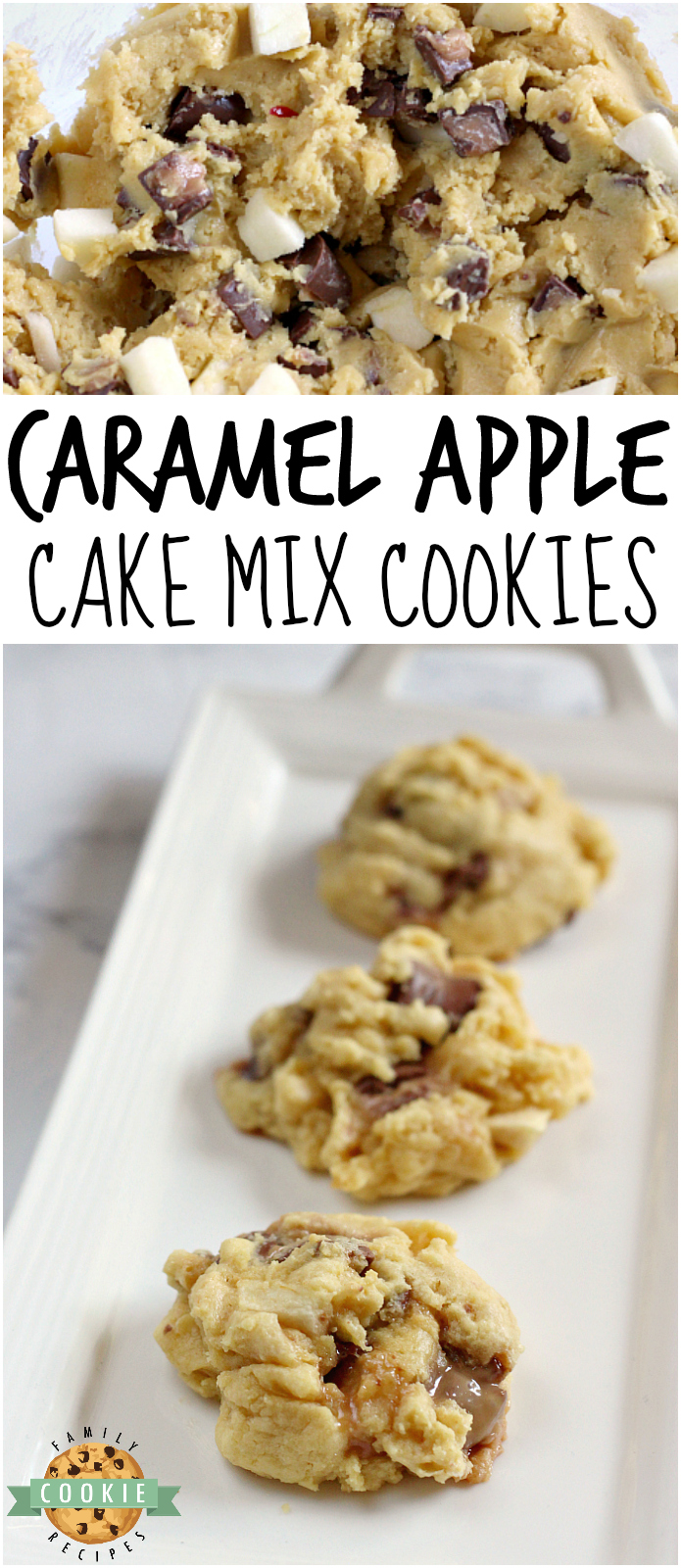 Caramel Apple Cake Mix Cookies are easily made with chopped apples and Rolo candies for a delicious flavor combination that comes together in just a few minutes.