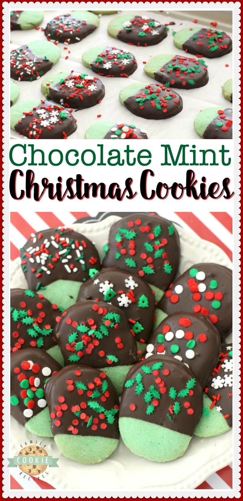 Mint Christmas Cookies made from a buttery shortbread cookie dipped in chocolate & topped with holiday sprinkles.Mint flavored Christmas Cookies perfect for cookie exchanges and gift plates! #Christmas #cookies #mint #chocolate #cookie #recipe #holiday #baking from FAMILY COOKIE RECIPES