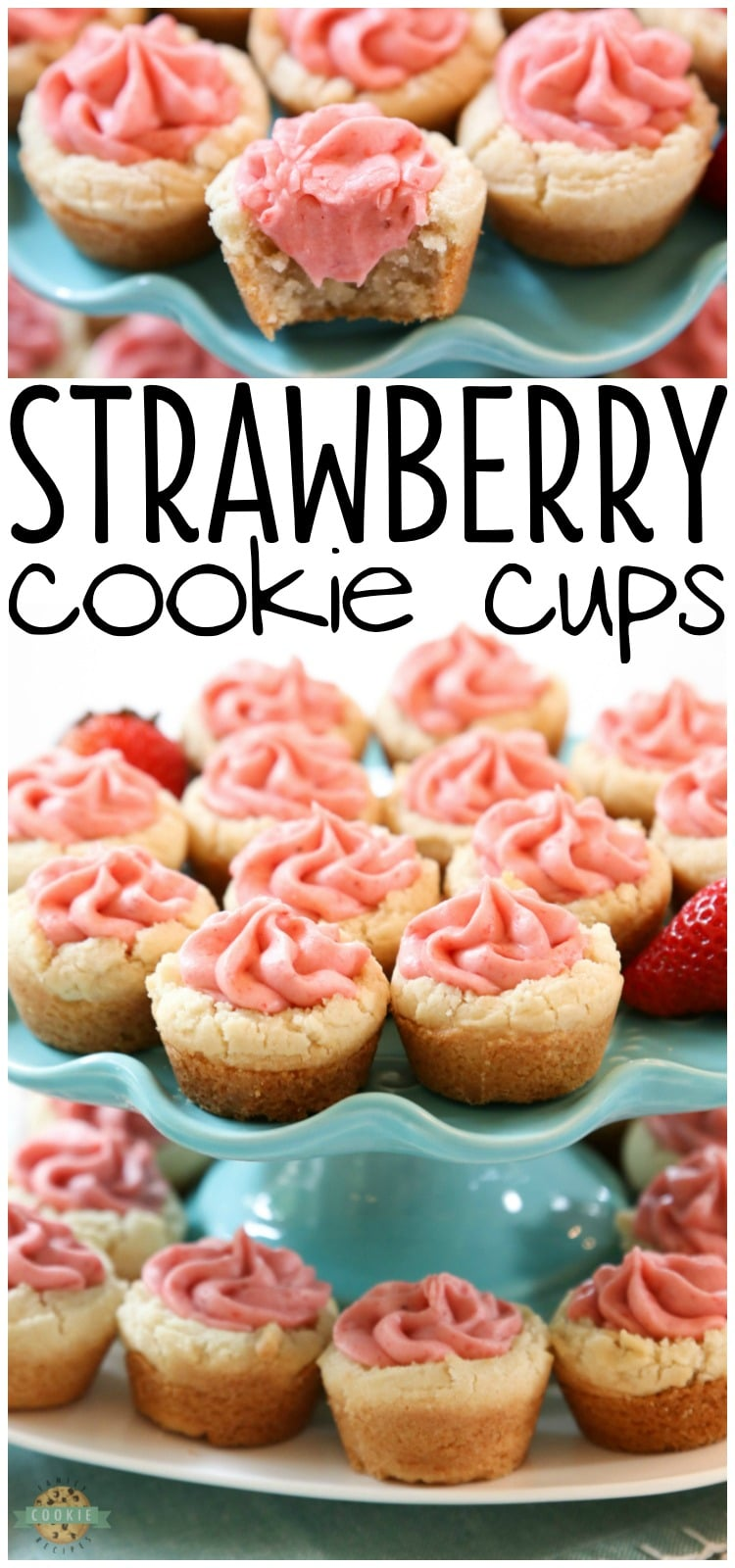 Strawberry Cookie Cups are bite-sized treats made with the best buttercream strawberry frosting ever. Made with fresh strawberries, there just aren't better strawberry cookies than these! #strawberry #strawberrycookies #cookiecups #strawberryfrosting #buttercreamfrosting #freshstrawberries #strawberrybuttercreamfrosting #strawberrycookiecups #recipefrom Butter With a Side of Bread