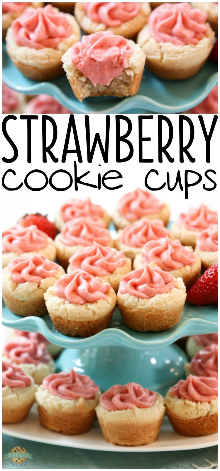 Strawberry Cookie Cups are bite-sized treats made with the best buttercream strawberry frosting ever. Made with fresh strawberries, there just aren't better strawberry cookies than these! via @buttergirls