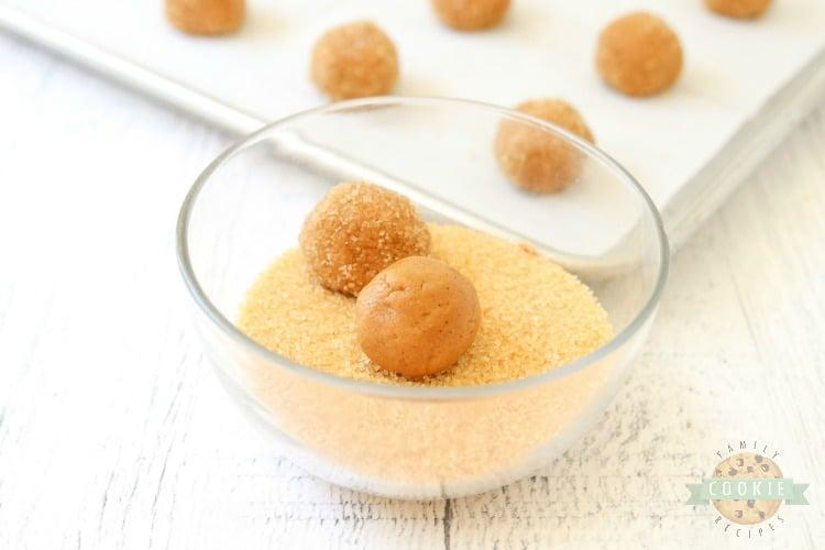 ginger molasses cookies in turbinado sugar