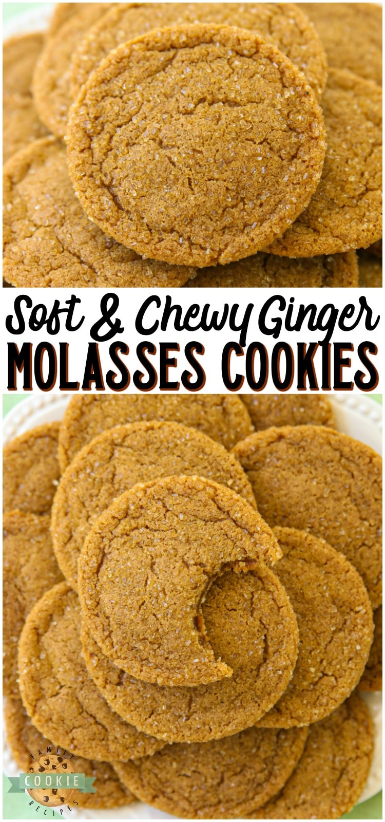 Soft & Chewy Ginger Molasses Cookies are perfect for the holidays! Lovely combination of spices give these Molasses Cookies incredible flavor and texture. via @buttergirls
