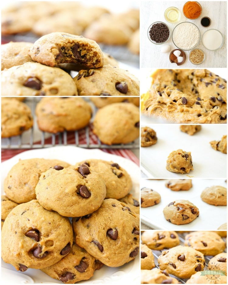 Delicious Pumpkin Chocolate Chip Cookies are incredible pillows of soft and chewy cookie goodness! Pillowy soft chocolate chip cookies straight from the oven are made even better with the addition of pumpkin.