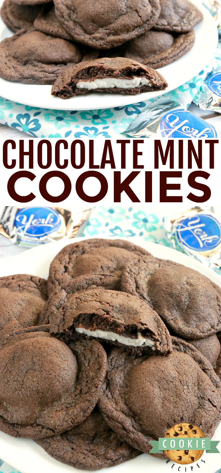 Chocolate Mint Cookies are soft and chewy chocolate cookies that have a York peppermint patty right in the middle. This easy cookie recipe is the perfect balance of chocolate and mint! via @buttergirls