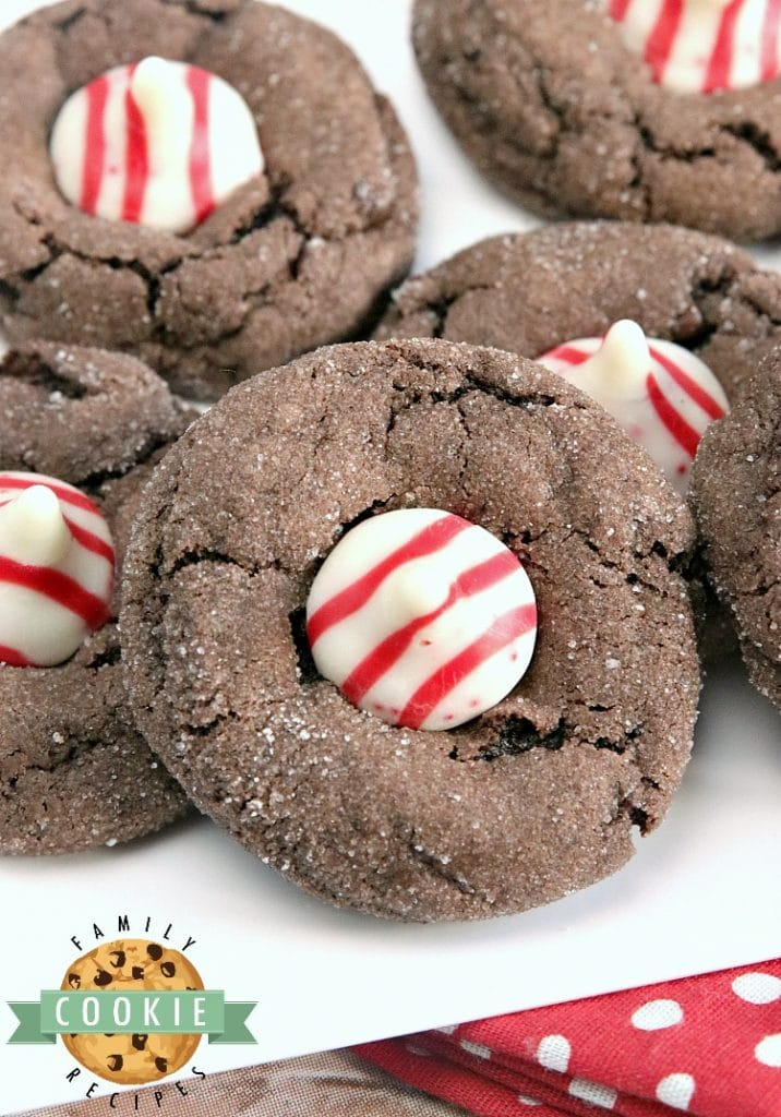 Chocolate Peppermint Blossoms are made with a cake mix, eggs, butter, and Hershey's Candy Cane Kisses. This easy cake mix cookie recipe yields soft and chewy chocolate cookies with just the right amount of peppermint!