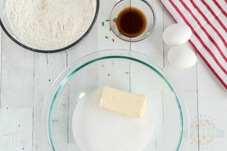 ingredients for Christmas Sprinkle Cookies