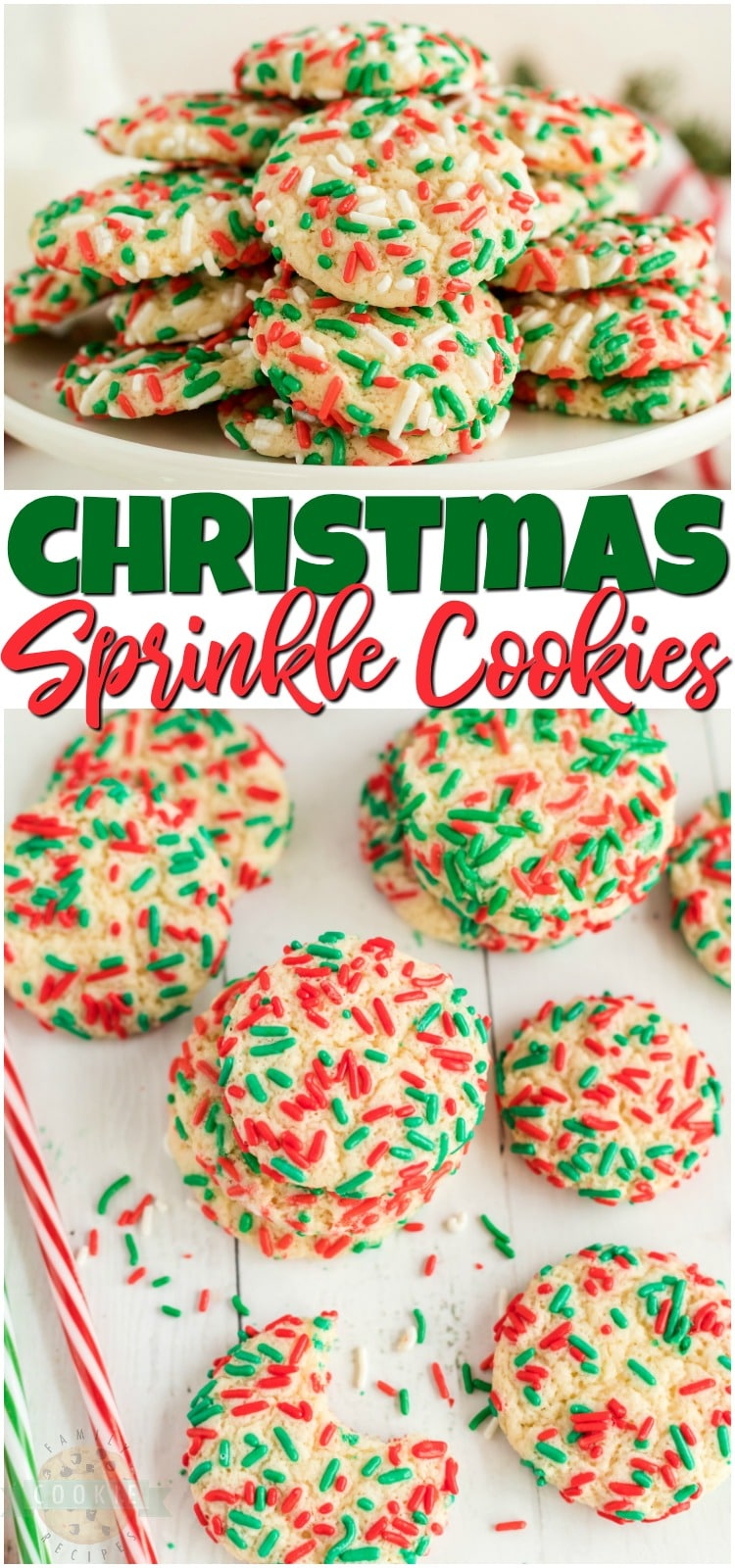 Christmas Sprinkle Cookies are sugar Cookies rolled in Christmas sprinkles for a special holiday treat!Delightfully soft & chewy Christmas cookies made with festive holiday sprinkles! #Christmas #sugarcookies #sprinkles #cookies #baking #holidays #neighborgifts #ChristmasCookies from FAMILY COOKIE RECIPES