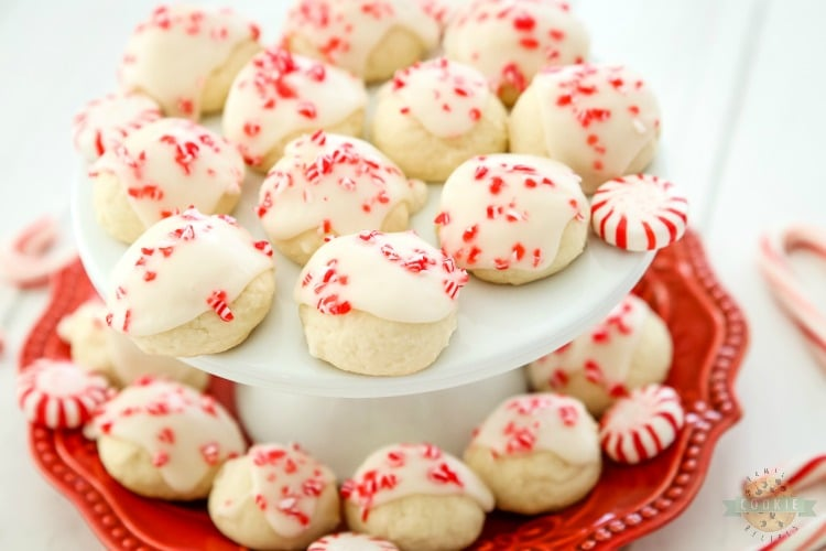 Peppermint Vanilla Shortbread Cookies are perfectly tender, buttery whipped shortbread with a lovely peppermint vanilla glaze on top! Festive Christmas cookies that everyone enjoys!
