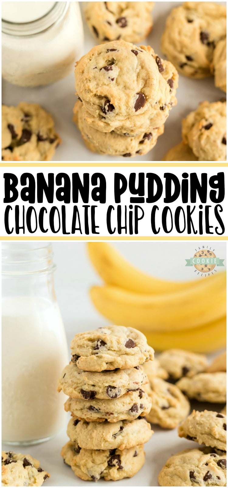 Banana Chocolate Chip Cookies are made with fresh bananas and chocolate chips folded into a lovely vanilla pudding cookie dough. A soft chocolate chip cookie recipe with lovely bright, fresh flavor from fresh bananas and chocolate. #cookies #banana #chocolatechip #baking #dessert #recipe from FAMILY COOKIE RECIPES via @buttergirls