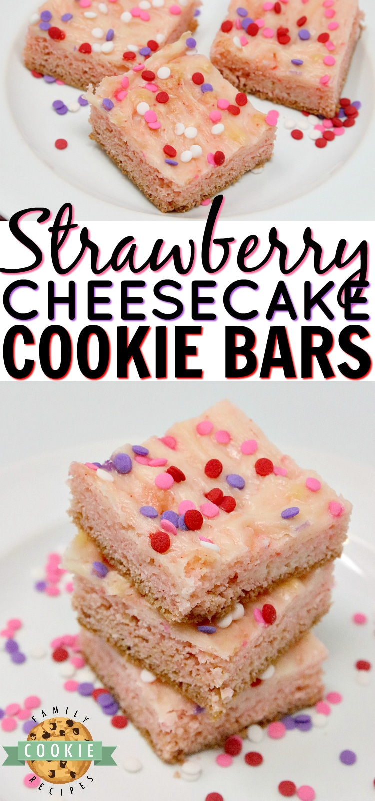 Strawberry Cheesecake Cookie Bars are made with a strawberry cake mix with a simple sweet cream cheese filling swirled in. Only 6 ingredients for these simple cookie bars that are soft, sweet and taste like strawberry cheesecake in cookie form! via @buttergirls