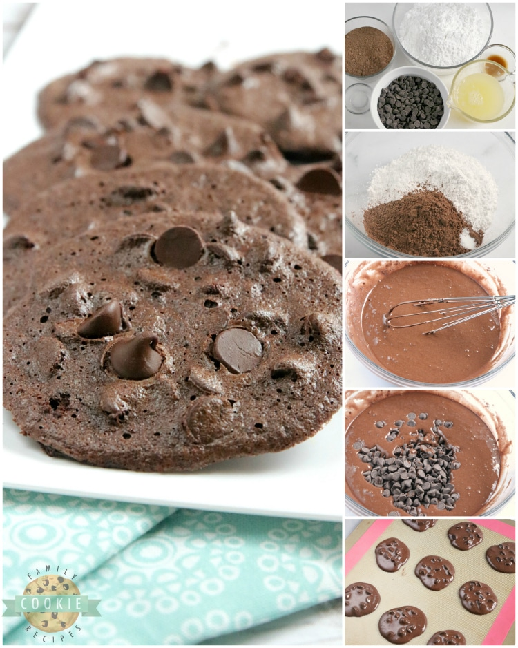 Step by step instructions on how to make double chocolate cookies without flour