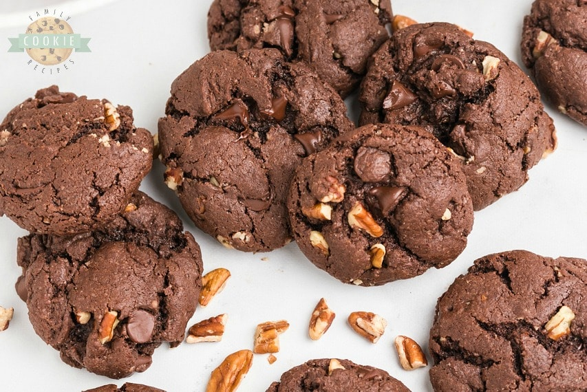 Chocolate Cake Mix Cookies made with 5 ingredients in minutes! Soft, fudgy chocolate cookies made from cake mix loaded with chocolate chips and pecans. Perfect easy chocolate cake mix cookie recipe!