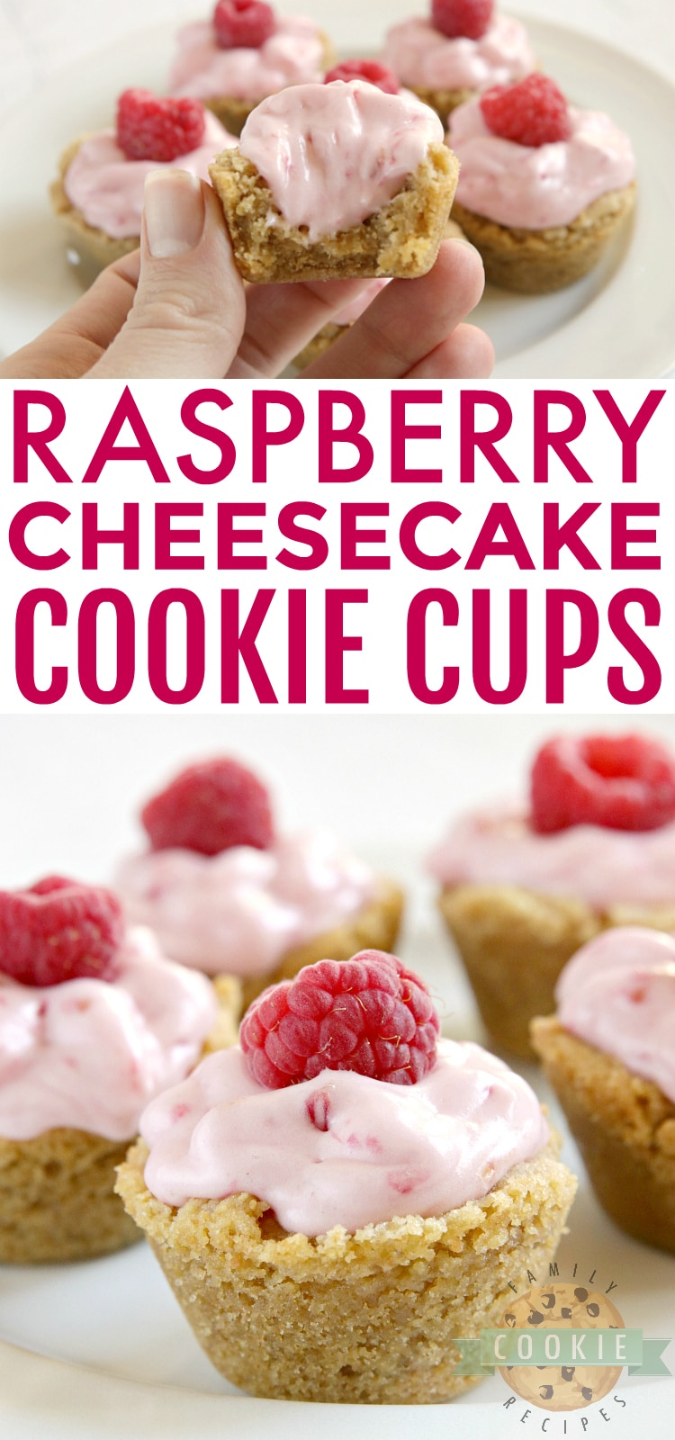 Raspberry Cheesecake Cookie Cups have a raspberry cheesecake filling in a bite-sized graham cracker cookie crust. These delicious cookie cups taste just like raspberry cheesecake and only take a few minutes to make! via @buttergirls