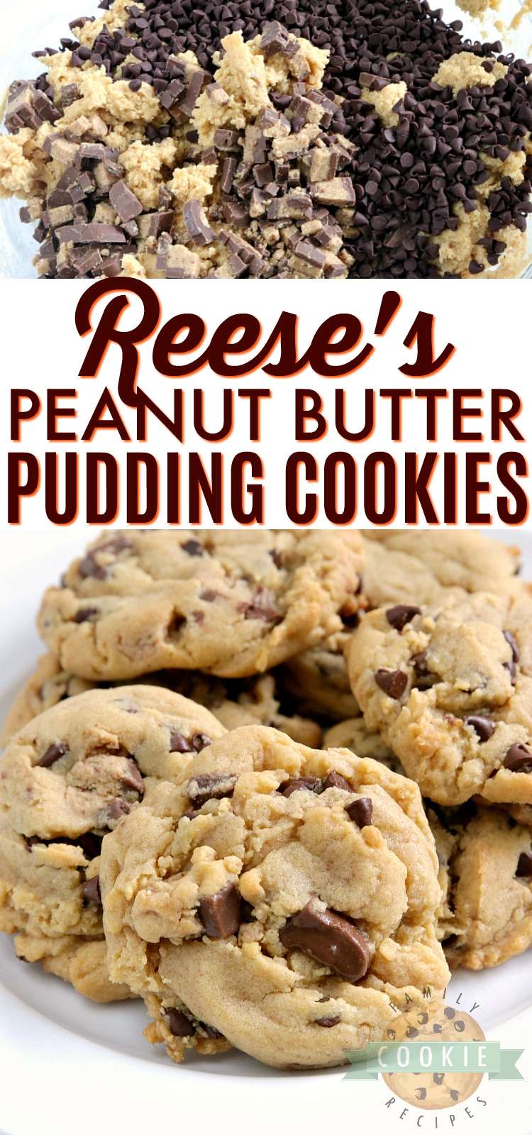 Reese's Peanut Butter Pudding Cookies are soft and chewy peanut butter cookies made with vanilla pudding mix and chopped up Reese's peanut butter cups too! via @buttergirls
