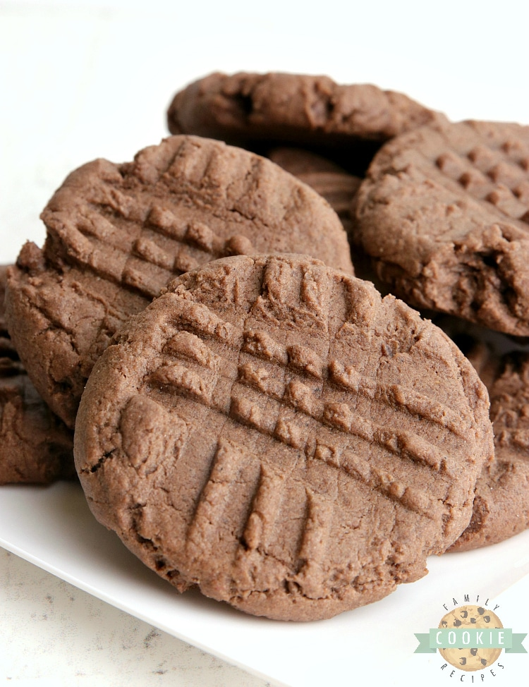 Chocolate cake mix cookies with peanut butter