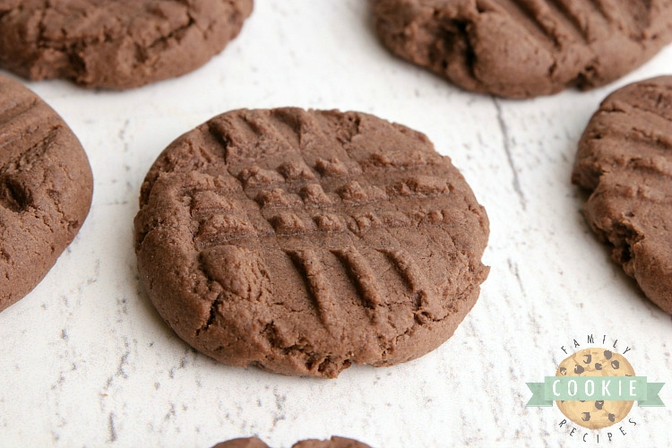 Peanut butter cookies made with a chocolate cake mix