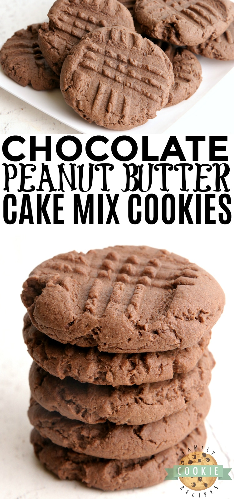 Chocolate Peanut Butter Cake Mix Cookies are soft, chewy and taste a little bit like peanut butter cups! Made with a chocolate cake mix, peanut butter, eggs and butter for a quick and easy cookie recipe. via @buttergirls