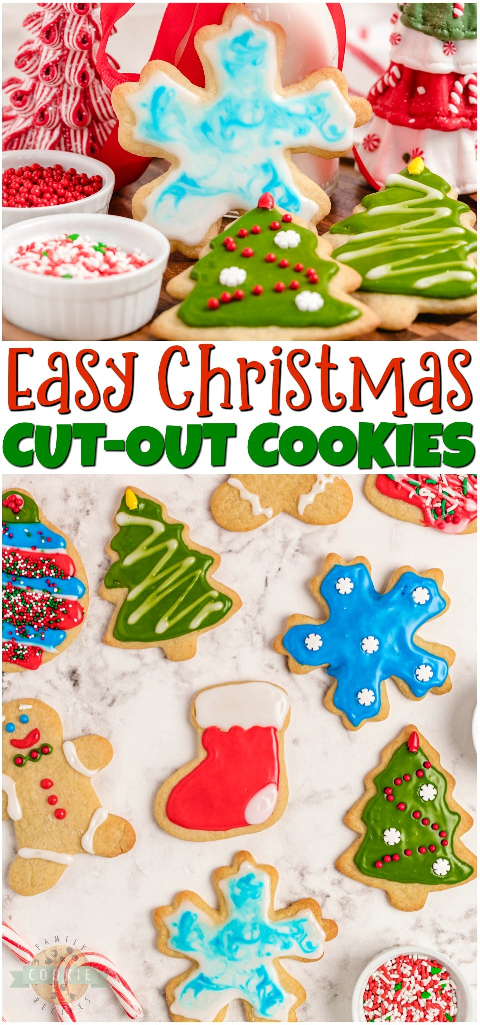 Classic Christmas Cut-Out Cookies perfect for the holidays! Easy sugar cookies for cookie cutters with a simple shiny cookie icing that everyone loves. #baking #cookies #Christmas #cutout #cookiecutters #cookieicing #sprinkles #hollidaybaking #easyrecipe from FAMILY COOKIE RECIPES via @buttergirls