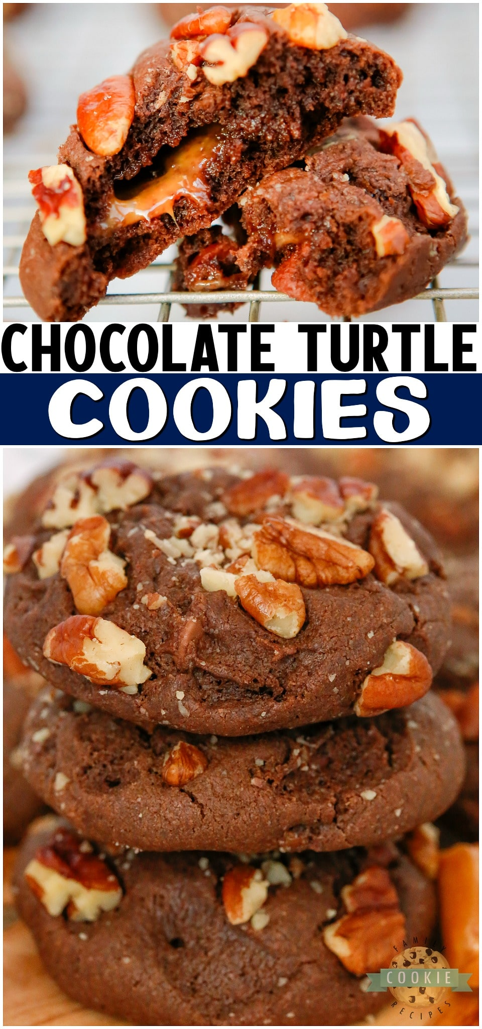 Chocolate Turtle Cookies are double chocolate chip cookies stuffed with caramel & pecans! Decadent Turtle Cookie recipe that everyone loves! #cookies #chocolate #caramel #pecan #turtles #baking #dessert #easyrecipe from FAMILY COOKIE RECIPES via @buttergirls