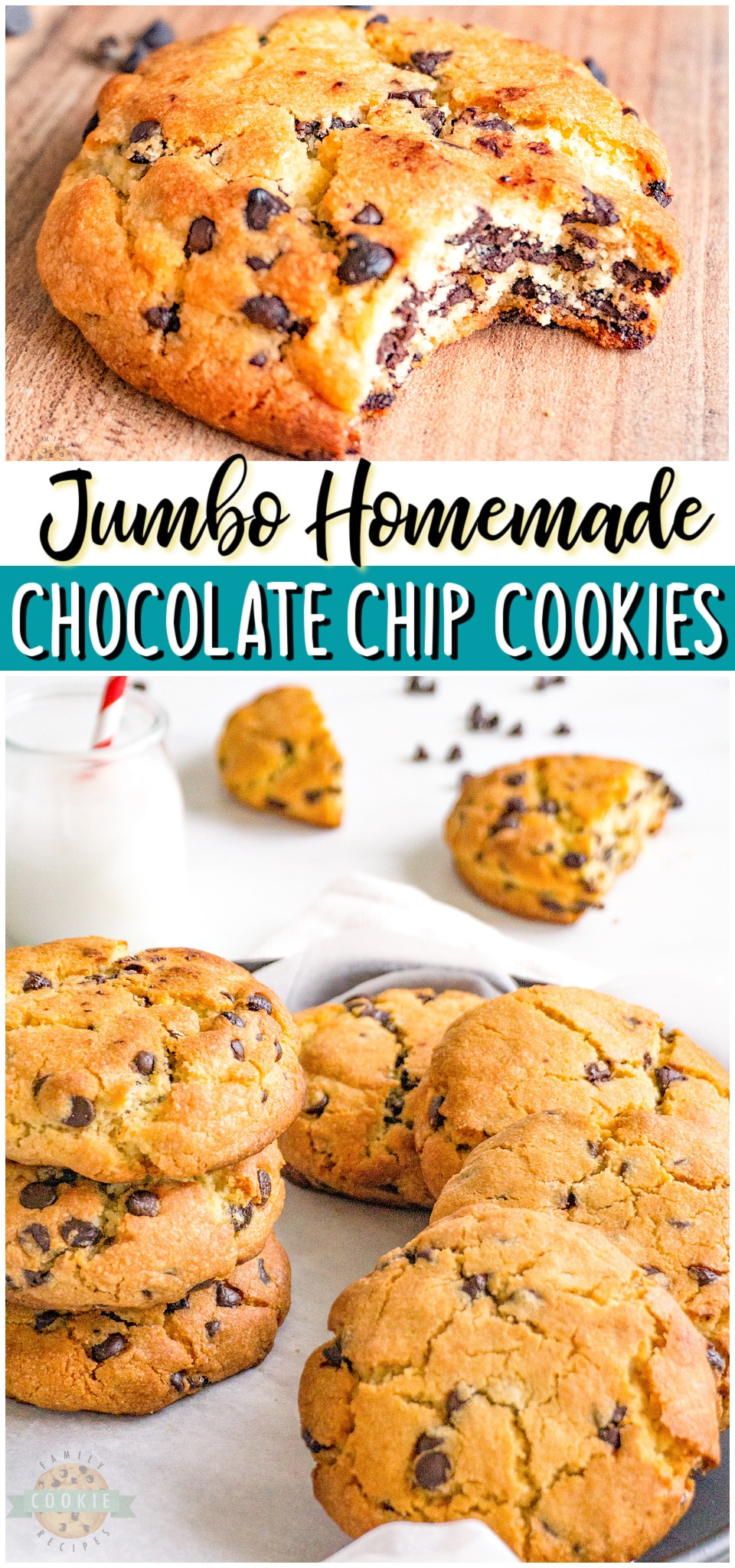 Jumbo Chocolate Chip Cookies made with classic ingredients & twice the size of traditional cookies! Soft, chewy & thick chocolate chip recipe perfect for cookie lovers!#chocolatechip #cookies #jumbo #big #baking #homemade #easyrecipe from FAMILY COOKIE RECIPES via @buttergirls