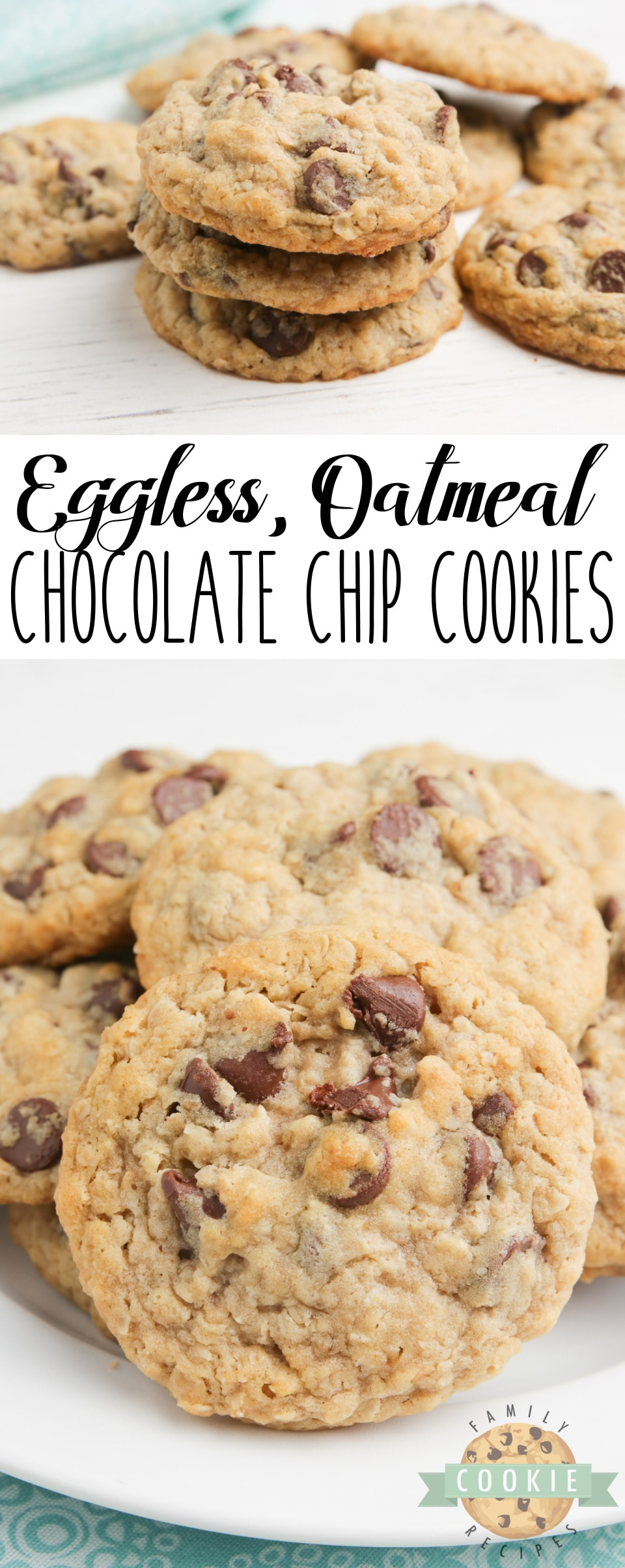 Eggless Oatmeal Chocolate Chip Cookies are soft, chewy and have the perfect consistency - you can't even tell there aren't any eggs in the recipe! Best eggless cookie recipe ever! via @buttergirls