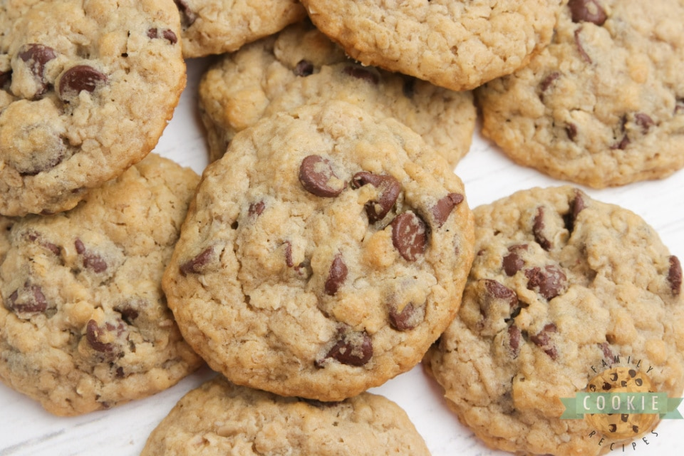 Eggless Oatmeal Chocolate Chip Cookies are soft, chewy and have the perfect consistency - you can't even tell there aren't any eggs in the recipe! Best eggless cookie recipe ever!