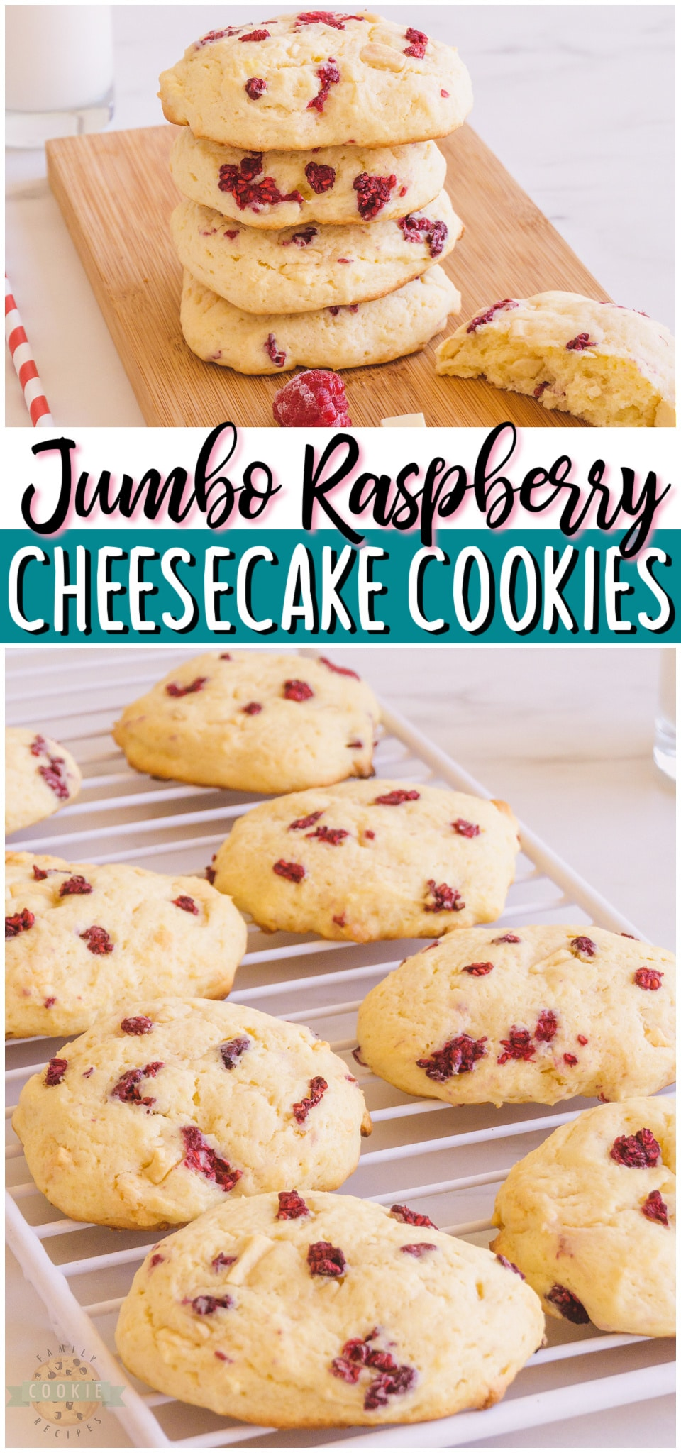 Giant raspberry cheesecake cookies are rich & indulgent cookies made with cream cheese, white chocolate & raspberries! Jumbo sized cheesecake cookies with bright raspberry flavor that everyone loves!#cookies #raspberry #cheesecake #bakerystyle #jumbo #baking #dessert #easyrecipe from FAMILY COOKIE RECIPES via @buttergirls