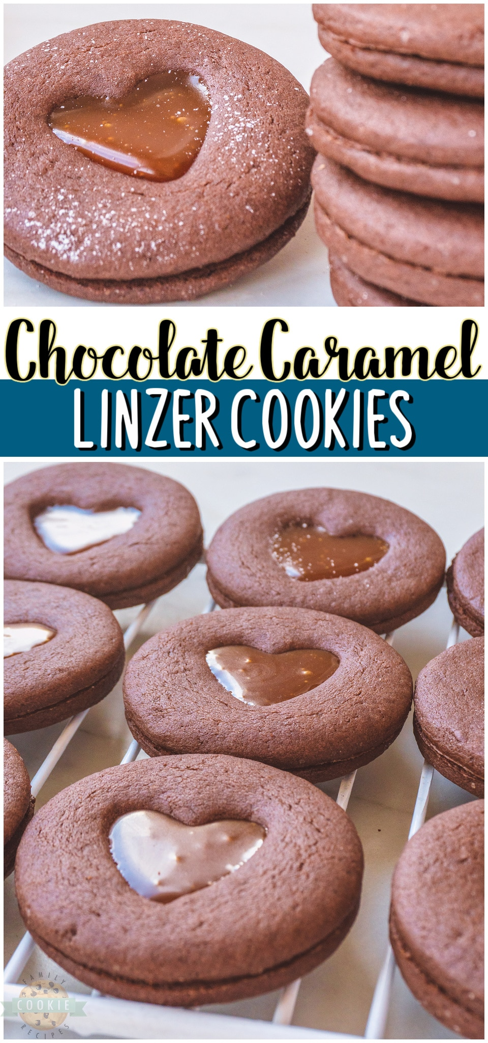 Chocolate Caramel Linzer Cookies are sandwich cookies that pack a lot of flavor into every gooey bite. With caramel filled chocolate cookies, every bite is going to be delicious but making these cookies is half of the fun! #cookies #Linzer #chocolate #caramel #baking #dessert #easyrecipe from FAMILY COOKIE RECIPES via @buttergirls