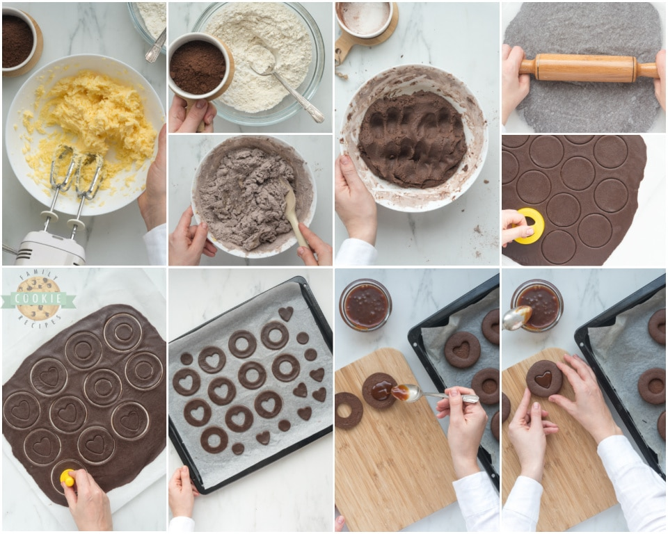 How to make Chocolate Caramel Linzer cookies