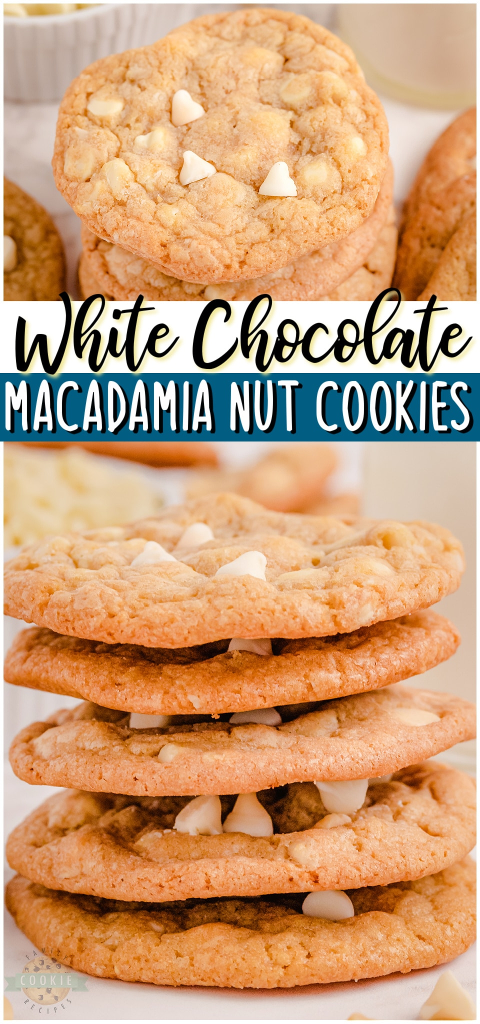 White chocolate chip cookies with macadamia nuts are a tasty treat that everyone can enjoy. With the soft and chewy cookies, buttery nuts and melt in your mouth chocolate chips, each bite is amazing! #cookies #baking #whitechocolate #macadamianut #dessert #easyrecipe from FAMILY COOKIE RECIPES via @buttergirls