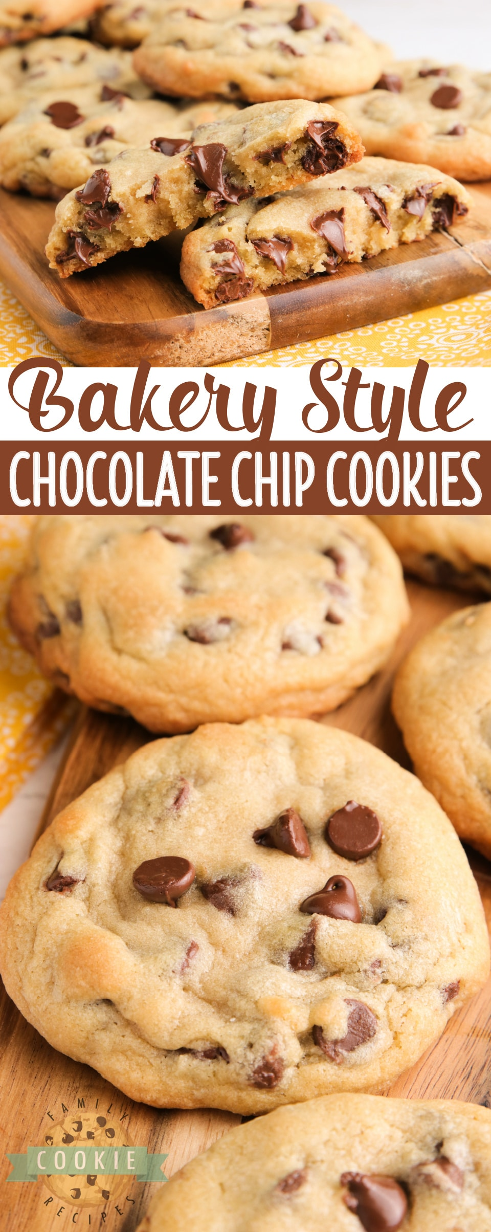 Bakery Style Chocolate Chip Cookies are large, crisp on the very outside and soft in the middle. The perfect chocolate chip cookie recipe that you've been looking for all your life! via @buttergirls