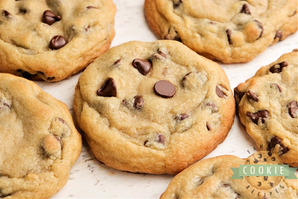 Bakery Style Chocolate Chip Cookies are large, crisp on the very outside and soft in the middle. The perfect chocolate chip cookie recipe that you've been looking for all your life!