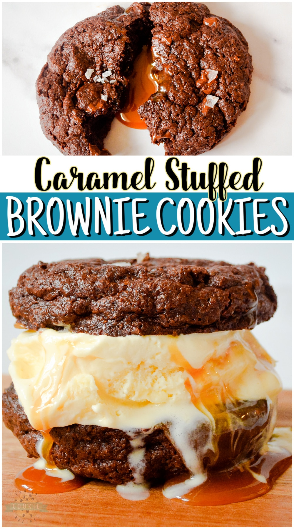 Caramel Brownie Cookies made with a brownie mix & stuffed with buttery soft caramels. Big, indulgent chocolate cookies with great flavors, especially with a sprinkle of sea salt on top! via @buttergirls