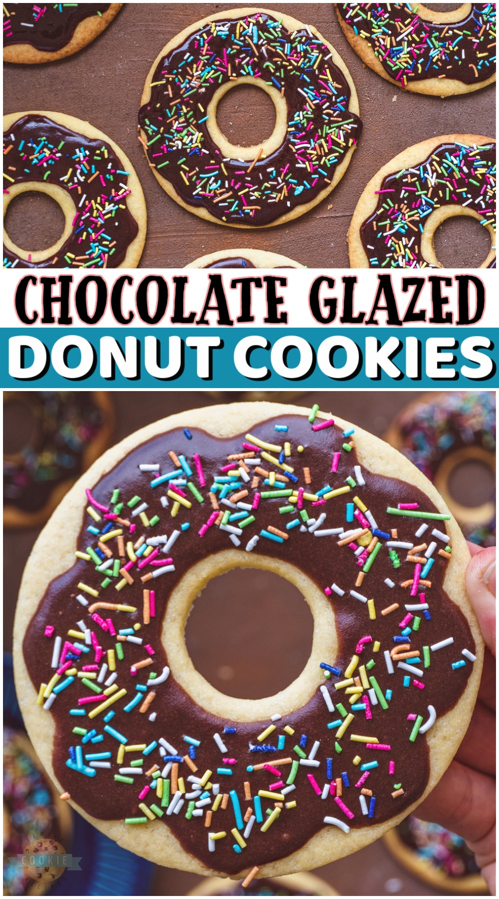 Chocolate Glazed Donut Cookies made to look like your favorite breakfast treat! Sugar cookies cut to look like chocolate donuts are the best kind of cookies. Don't forget the sprinkles! via @buttergirls