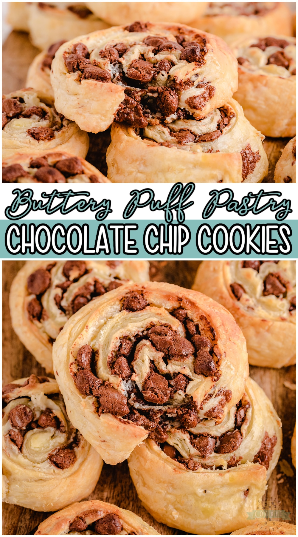 """Chocolate Chip Puff Pastry Cookies are unique cookies made with just 4 simple ingredients! Buttery Puff Pastry serves as the """"cookie dough"""" for these deliciously flaky cream cheese chocolate chip cookies.#cookies #puffpastry #chocolate #chocolatechip #baking #easyrecipe from FAMILY COOKIE RECIPES via @buttergirls"""
