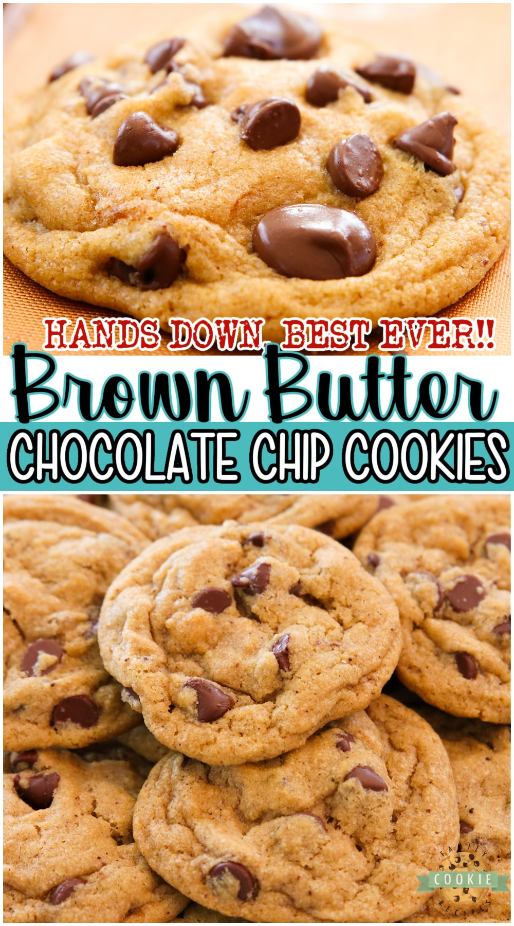 Incredible Brown Butter Chocolate Chip Cookies with the BEST flavor ever! These'll be your NEW FAVORITE chocolate chip cookie recipe; the brown butter adds a delicious caramel flavor that everyone loves. #cookies #butter #brownbutter #baking #easyrecipe from BUTTER WITH A SIDE OF BREAD via @buttergirls