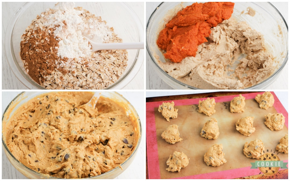 Step by step instructions on how to make pumpkin oatmeal chocolate chip cookies